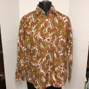 Alan Flusser Wild Paisley Button Down Shirt Large